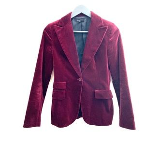 Zara | Burgundy Crushed Velvet Blazer Jacket